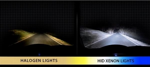 Слева - галогеновые лампы, справа - Ксенон